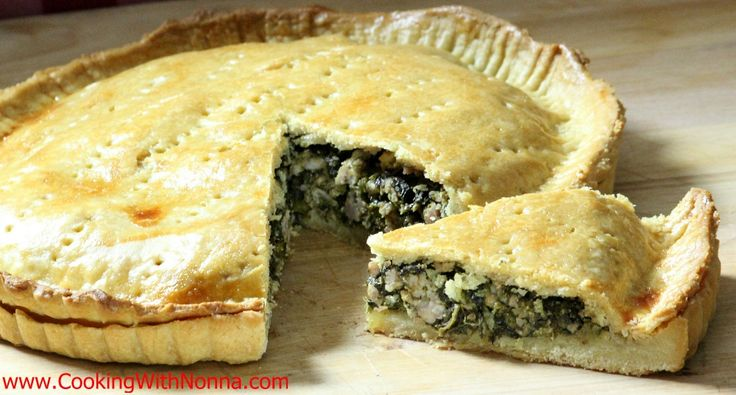 Broccoli rabe sausage pie (sub with cheese and/or anchovy paste)
