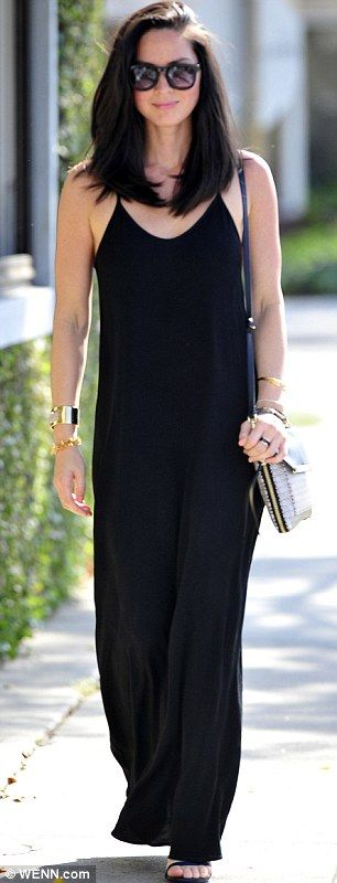 Olivia Munn wearing Stuart Weitzman Nudist Sandals Stella & Dot Tia Cross Body bag in Mosaic