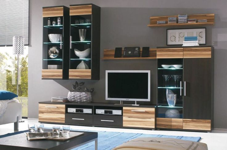 Brand new living room furniture set sandro with tv unit for Latest wall unit