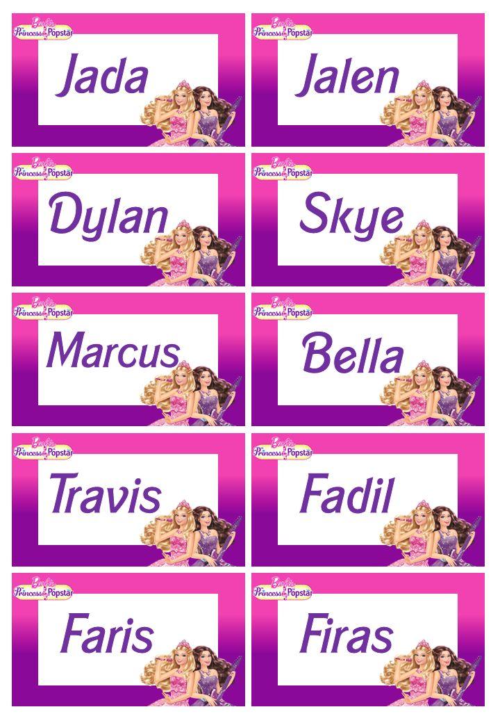 Name Tags Anya S 5th Birthday Name Tags Tags Names