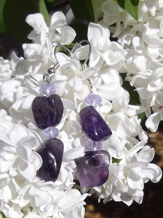 Natural Amethyst with Alexandrite Crystals Earrings