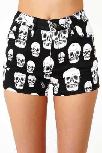 Skull Crusher Shorts in Clothes Bottoms Shorts at Nasty Gal.      Yeah who would want skulls there.        Only nasty gals