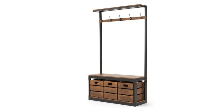 Layne Large Hall Stand, Black and Mango Wood