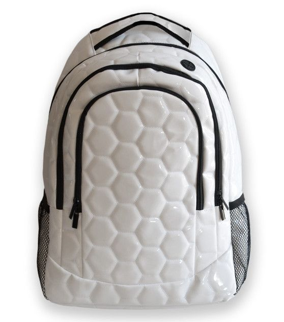 Soccer Ball Material Backpack: and then I would color is some hexagons with black sharpie