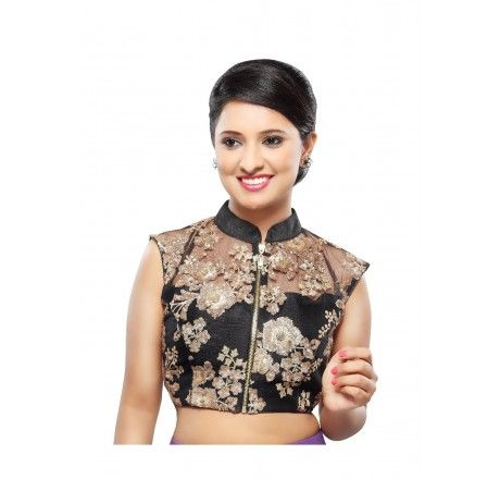 285c54afcdd111 Black net padded ready made blouse from MuHeNeRa | Saree Blouse ...