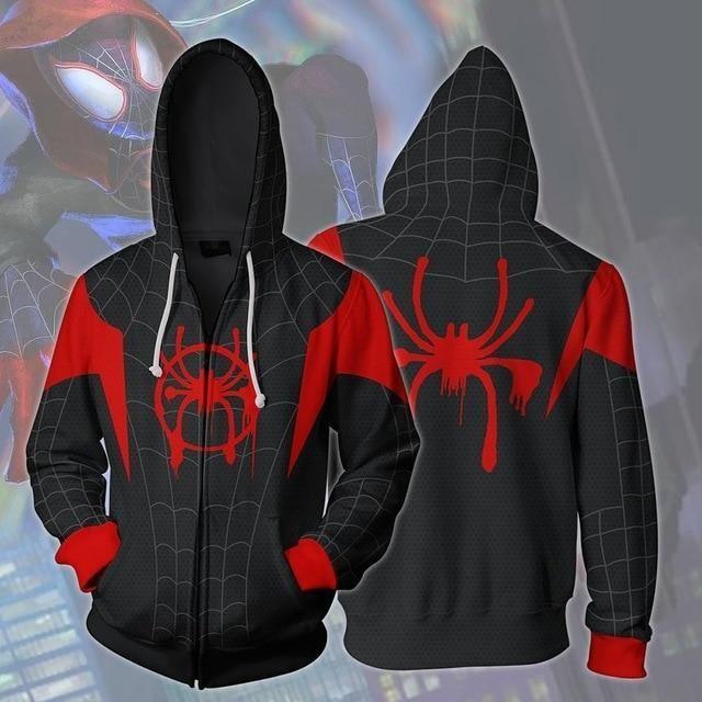 Kids Spider-Man Into The Spider-Verse Miles Morales Hoodies Boy Sweatshirt Coat