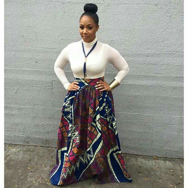 Erica Campbell in African fashion - https://www.amazon.com/Afibi-African-Printed-Multisize-XX-Large/dp/B01N9LCETZ/ref=sr_1_4?ie=UTF8&qid=1490463256&sr=8-4&keywords=a%2Bline%2Bmaxi%2Bskirt&th=1&psc=1