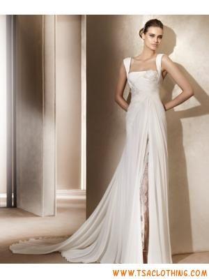 eenvoudige A-lijn spleet chiffon jurk met bandjes