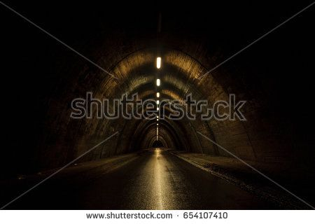 Old tunnel at night after the rain