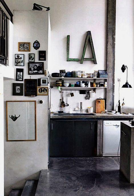LA: Spaces, Idea, Home Interiors, Industrial Interiors Design, Interiordesign, Concrete Floors, Industrial Design, Modern Kitchens, Pictures Frames
