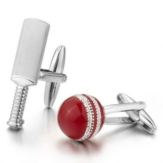 Justeel Men Rhodium Plated Cufflinks Silver Red Cricket Bat Racket Stunning (with Gift Bag) (Width: 0.8cm Length: 3.2cm )