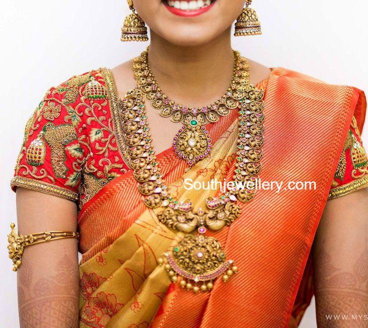 Bride in Antique Nakshi Jewellery, temple jewellery, mango mala, peacock haram, 22 carat gold jewellery, south indian bride