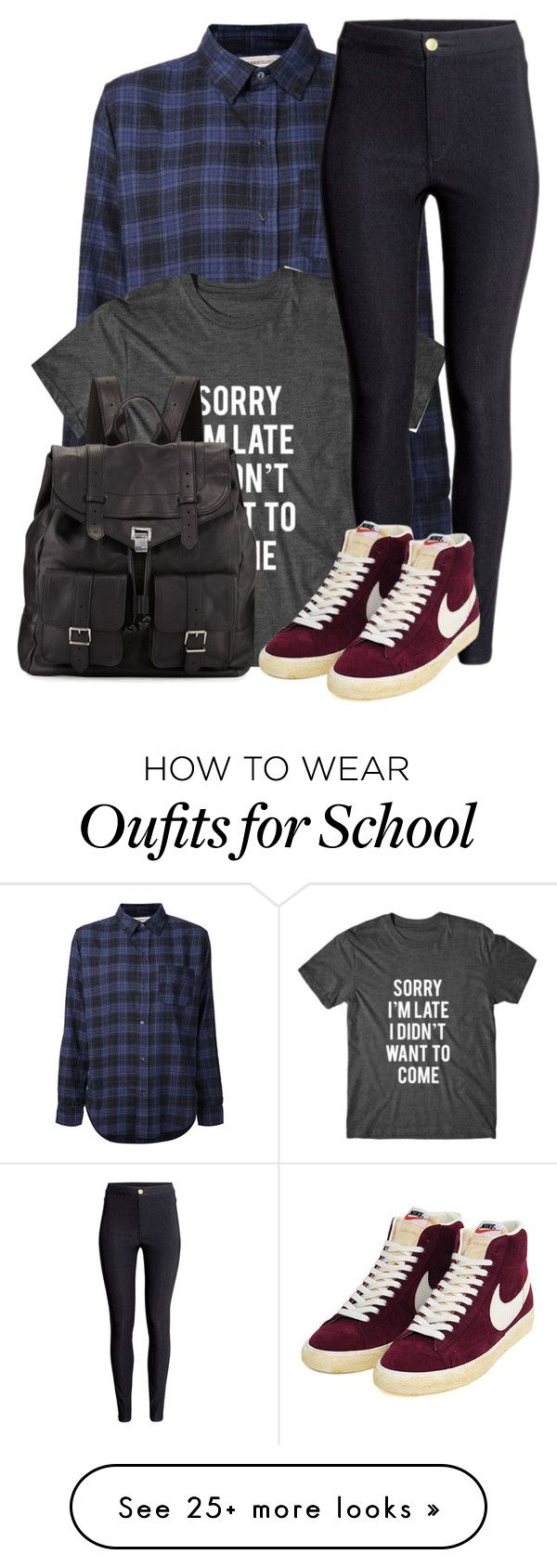 """school"" by adele-adik on Polyvore featuring Current/Elliott, H&M, NIKE and Proenza Schouler"