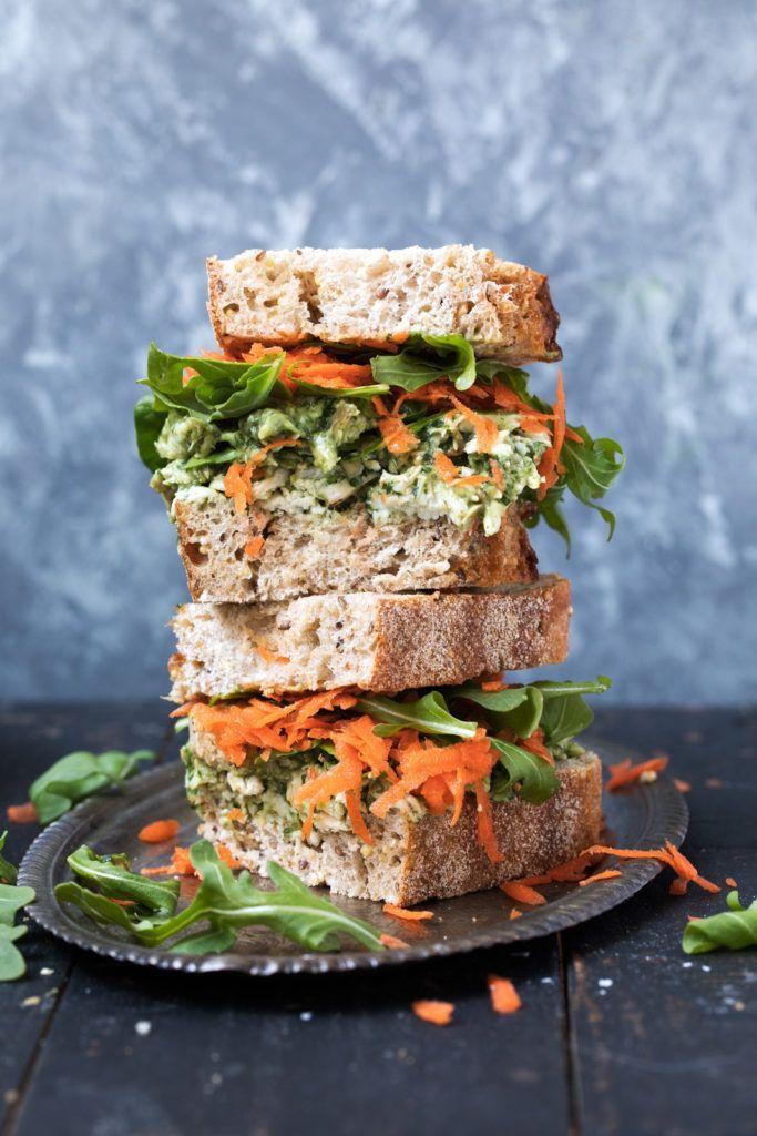 Healthy Pumpkin Seed & Avocado Pesto Chicken Salad Sandwiches | Ambitious Kitchen