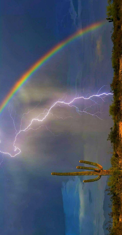 Arizona rainbow and lightning bolt in one electrifying image