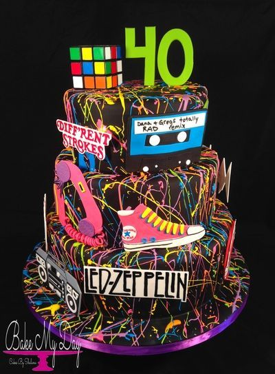 80's themed 40th birthday cake, with all edible details