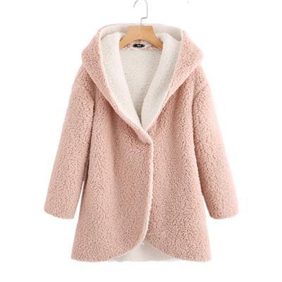Curved Hem Sherpa Fleece Hoodie Coat Women Winter Coats Pink Single  Breasted Warm Woman Parkas Female