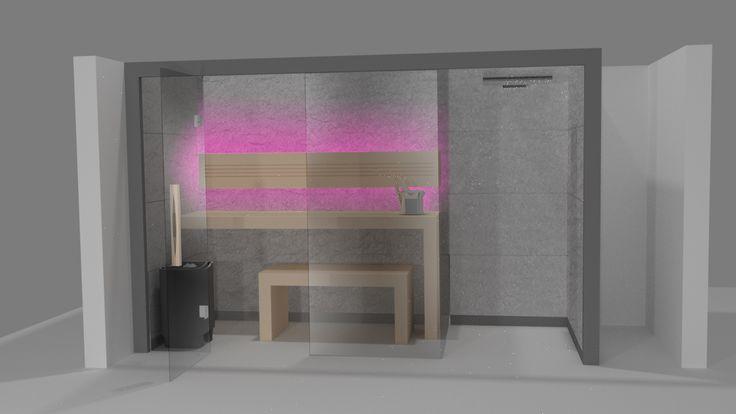 Sauna Perfect Line z prysznicem - wizualizacja. Nowoczesna sauna domowa. #sauna #sauny #spa