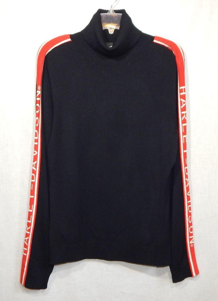Harley Davidson Womens Sweater Large L Turtleneck Shirt Top Logo