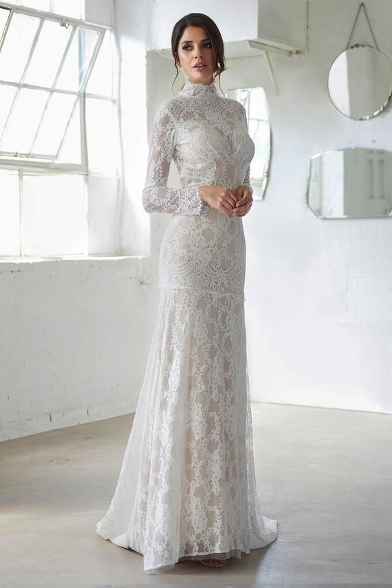Wedding Dress Boho Wedding Dress With Sleeves High Neck Wedding Dress Open Back Wedding Dress Bohemian Wedding Dress Vintage Wedding Dress Boho Dresses Wedding Dress Sleeves