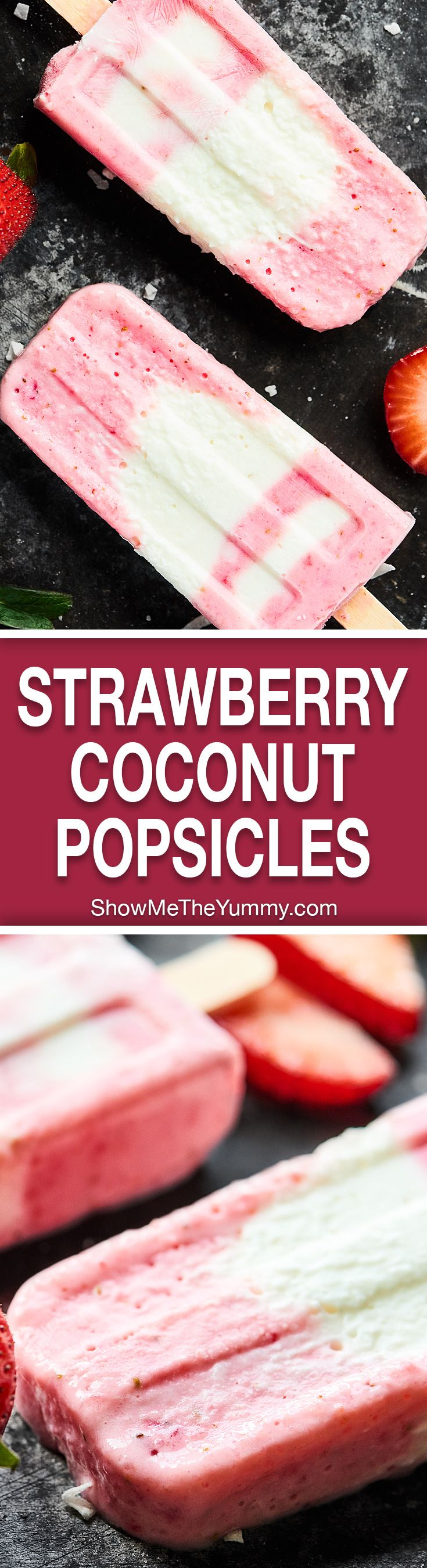 Strawberry Coconut Popsicles, my favorite summer treat! Full of greek yogurt and fresh fruit, the ingredient list is short, the popsicles are creamy dreamy, and you better believe they're healthy enough to enjoy without the guilt! showmetheyummy.com #popsicles #greekyogurt