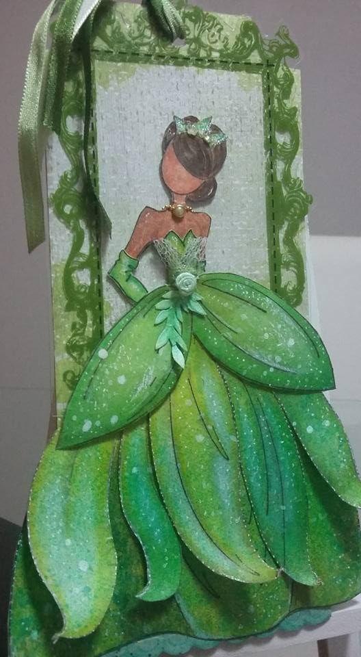 Disney Princess Frog Tiana mixed media tag art handmade paper doll julie nutting prima