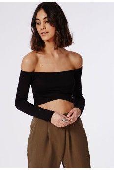 Long Sleeve Bardot Crop Top Black
