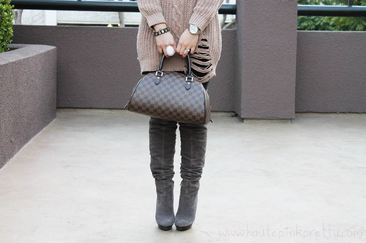 Taupe Chunky Oversized Cable Knit Sweater Grey Suede OTK Boots Makeup info!