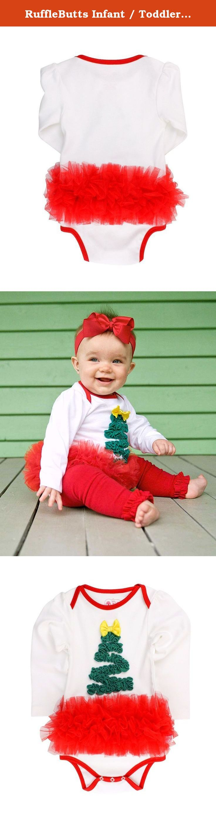 RuffleButts Infant / Toddler Girls Christmas Tree Tutu Holiday Bodysuit - White - 0-3m. May your days be merry and bright with this ruffled Christmas tree long sleeve one-piece. The tutu skirt adds extra holiday cheer. Pair with Footless Ruffle Tights for an outfit that is sure to keep your little sweetie cute and warm!.