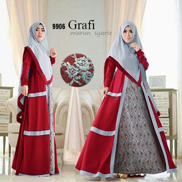grafi marun syari Rp125rb, maxi tgn pjg, tgn karet, pinggang bl kg karet, bergo no pad spandex korea kombi brukat, ld 100 smp 110 pjg 135 lbr kaki 208 berat 900gram contact us FB fanpage: Toko Alyla line@: @alylagamis WA: 0812-8045-6905 toko online baju muslim gamis murah hijab murah supplier hijab konveksi gamis agen jilbab