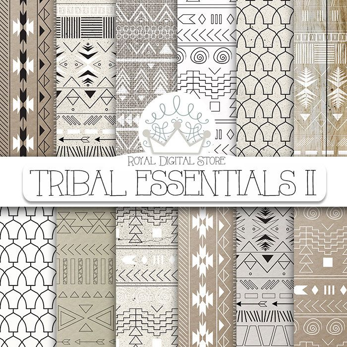 "Aztec digital paper: ""TRIBAL ESSENTIALS II"" with aztec, tribal pattern, background on neutral colors, earth shades, grey, beige #tribal #black #digitalpaper #scrapbookpaper"