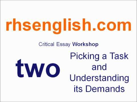Higher English Critical Essay Workshop - Two: Picking a Task