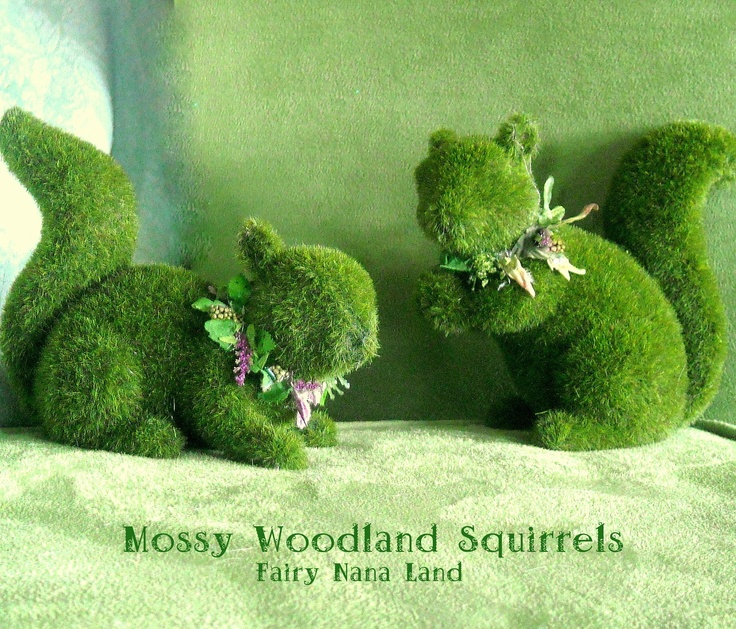 Two Moss covered Squirrels -  Wonderful Woodland themed party decorations - Charming Cottage style home decor. $25.00, via Etsy.