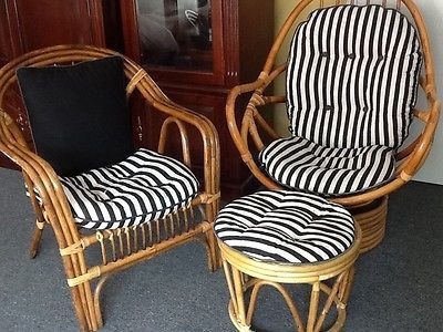 Vintage Rattan Bamboo Furniture 3 Pieces Set Of Swivel