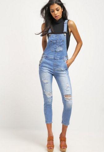 Pepe Jeans SLATE Ogrodniczki jeansowe obcisłe bleached denim