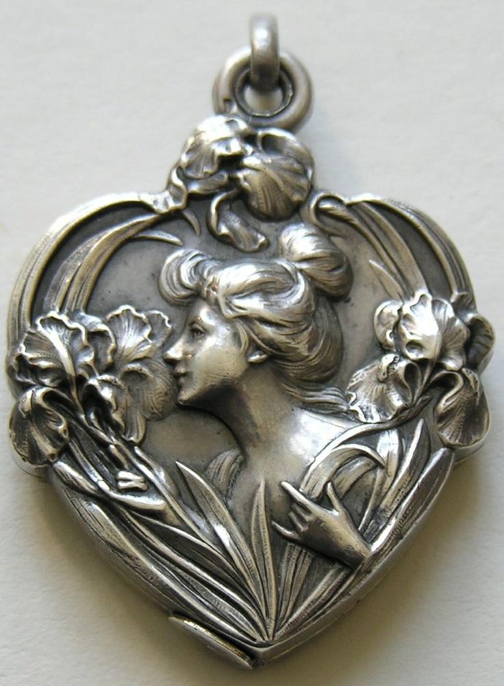 French Art Nouveau Silver Heart Slide Locket