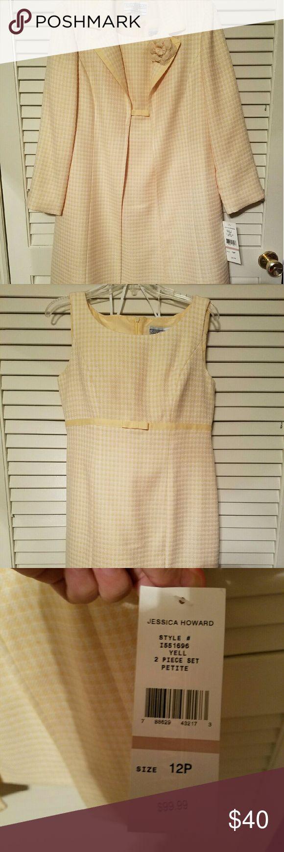 2pc set-Yellow gingham dress w/matching overcoat Pale yellow size 12 petite, NWT Jessica Howard Dresses