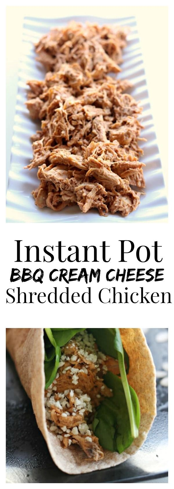 Instant Pot Shredded BBQ Cream Cheese Chicken Recipe–tender chicken breasts cooked in minutes in your pressure cooker and then mixed with cream cheese and BBQ sauce. This 3 ingredient chicken is addictive! Perfect to serve on sandwiches, rolled up in tortillas or on pizza.