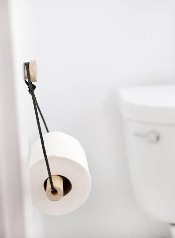 Modern Toilet Paper Holder Wood Leather Bathroom Accessories
