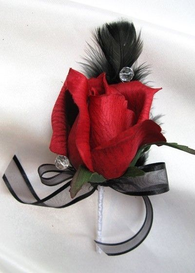 Wedding bouquet Bridal flowers RED / BLACK FEATHERS 13 pc package Bridesmaids boutonnieres Corsages. $158.00, via Etsy.