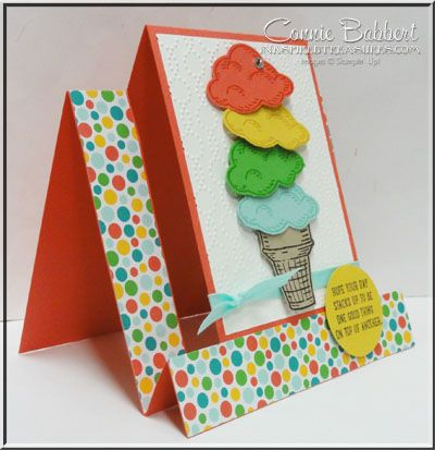 hand crafted card ... Sprinkles of Life ... side view of center panel step card ... luv the bright summer pallette ... ice cream cone with 4 scoops ...