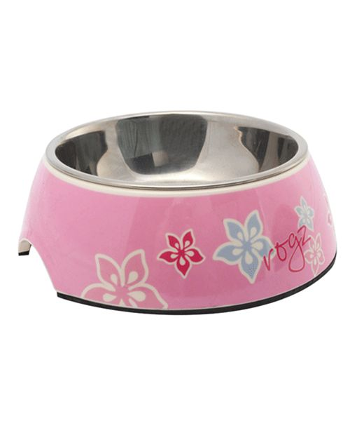 ROGZ BUBBLE BOWL 2-IN-1 PINK HIBISCUS. Available from www.nuzzle.co.za