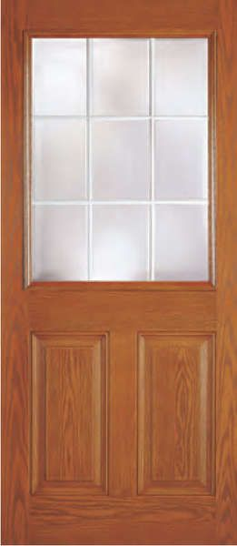 Fiberglass 2 Panel 9 Lite Dual Pane Clear Tempered Glass Flush Glazed- Woodgrain [DRG12G09-A]