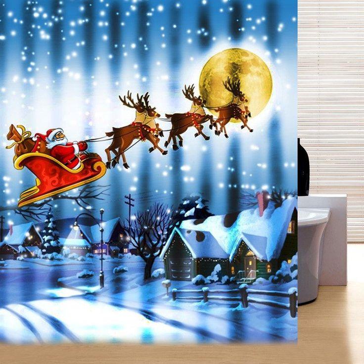 10 best Santa shower curtains images on Pinterest   Christmas ...