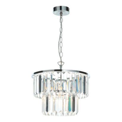 Knightsbridge 1 Light Metal and Glass Pendant Ceiling Light, 5014838502563