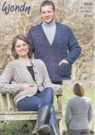Wendy 5910 Round and V Neck Cardigans in Wendy Cairn Aran (#4) weight yarn. For adults in several sizes.