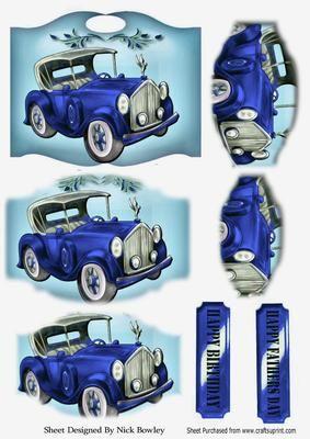 blue vintage car on a plaque bracket pyramids on Craftsuprint - Add To Basket!