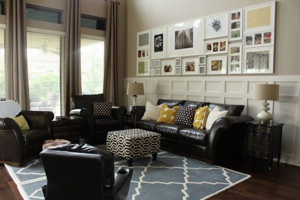 Decor Chick --love the colors, the wall treatment, rug...ottoman...all of it!