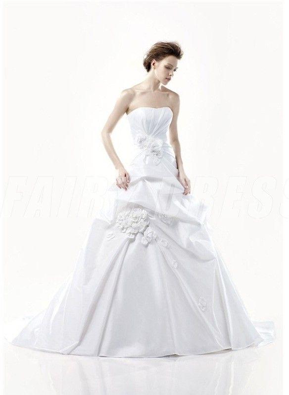 Robe de mariée élégante à traîne Chapelle ruchée sans bretelle