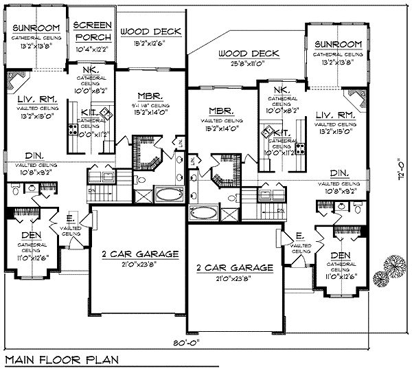 First Floor Plan of Bungalow Multi-Family Plan 97394 ...